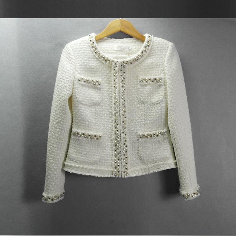 White Tweed Coat | Fashion Women's Coat 2017
