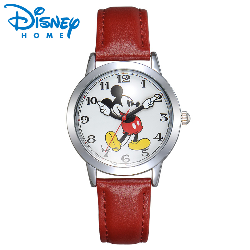 Disney Watch Mickey Mouse Women Watches Fashion Top Brand Wristwatch relogio feminino Casual Quartz Leather Strap Kid's Watches relojes mujer classic new fashion casual watches women dress quartz watch mickey hollow dial leather wristwatch relogio feminino