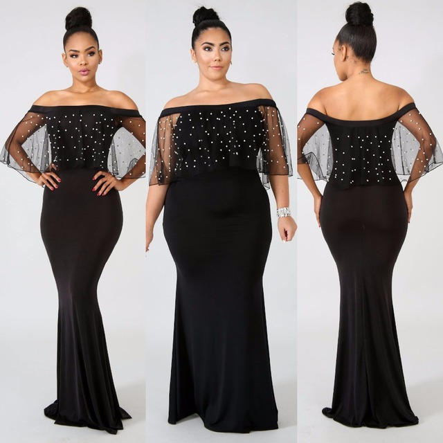 c779f7df274 BKLD Sheer Mesh Maxi Long Slim Dress Women Pearl Beadings Dress Black  Perspective Summer Sexy Off Shoulder Party Dress Plus Size