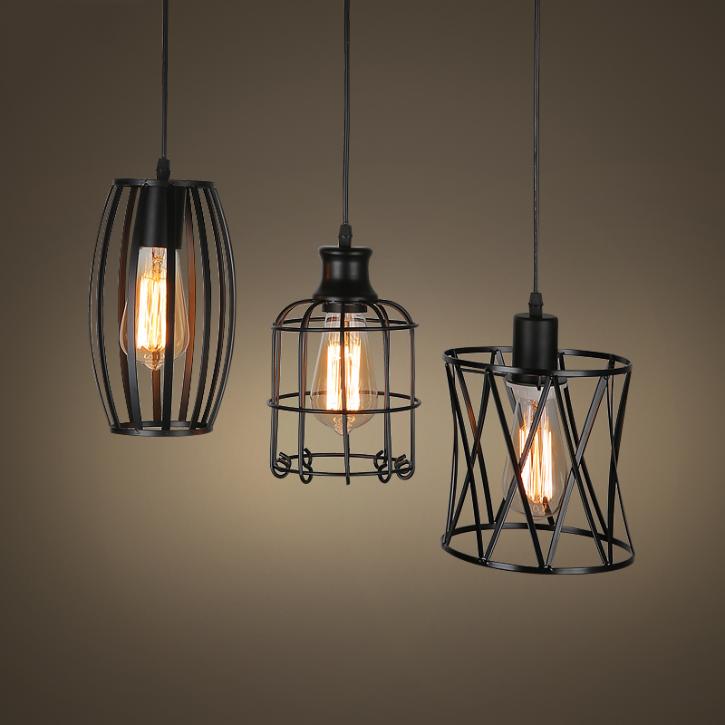 American Vintage Style Wrought Iron Net Loft Pendant Light Restaurant Light Bars Light Balcony Light
