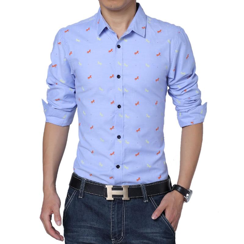 2017 새로운 봄 스타일의 남성 셔츠 고품질의 패션 레저 청소년 팝 싱글 브레스트 남성 긴 소매 셔츠 대형 M - 5XL