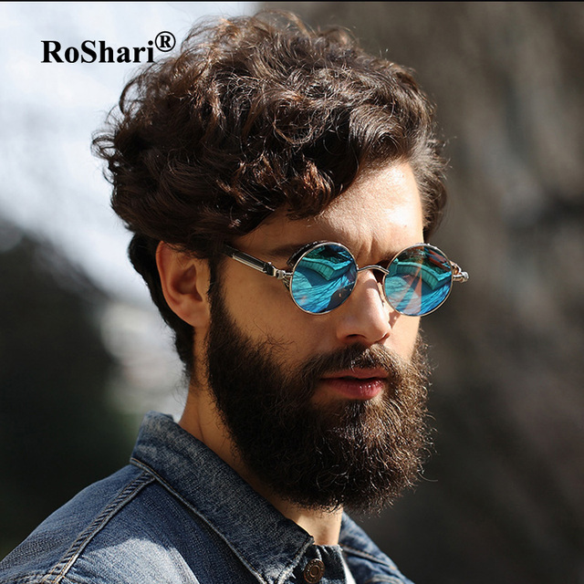 Roshari Round Metal Polarized Sunglasses Women Men Brand