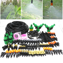 MUCIAKIE 50M 30M Drip Irrigation Garden Watering Mist Kits with 4 Types of Misting Adjustable Nozzle Spray Barb Tee Connectors