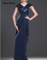 Wedding Party Dress Long Mother Of The Groom Dresses Navy Blue Chiffon Cap Sleeve V Neck Mother of the Bride Dress
