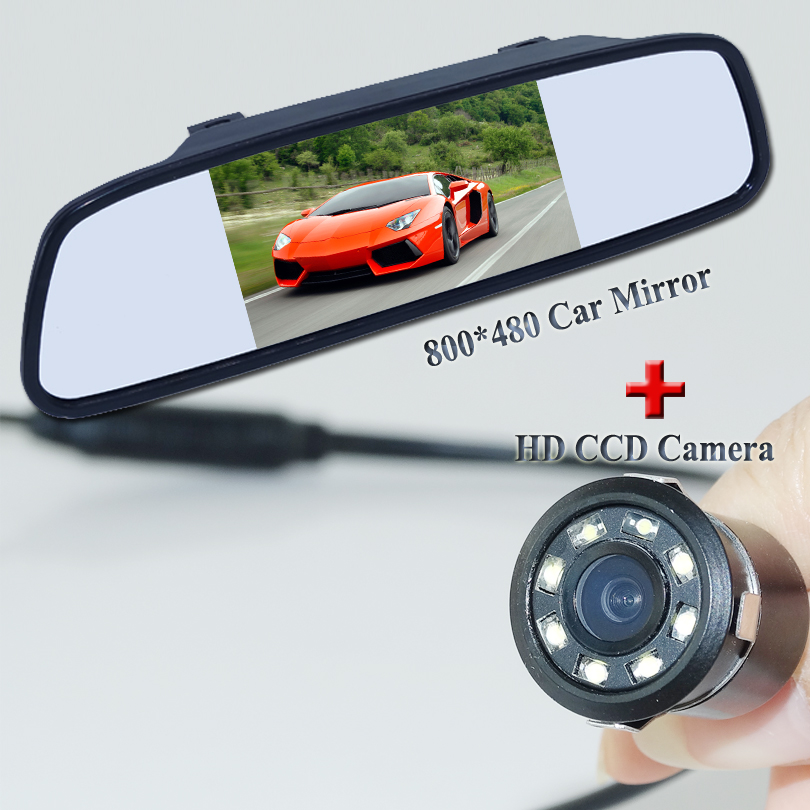 Black shockproof universal car parking camera with the widescreen car mirror 5 display for car back up universal car use