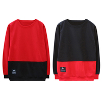 Man Two Tone Sweatshirt Long Sleeve Pullover Blouse Male Loose Round Neck Autumn Dance Tops