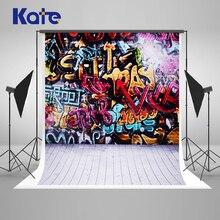Kate 10x10ft graffiti coloful tijolo backdrops fotografia pano de fundo da foto da parede para crianças foto fundo do estúdio fundo prop