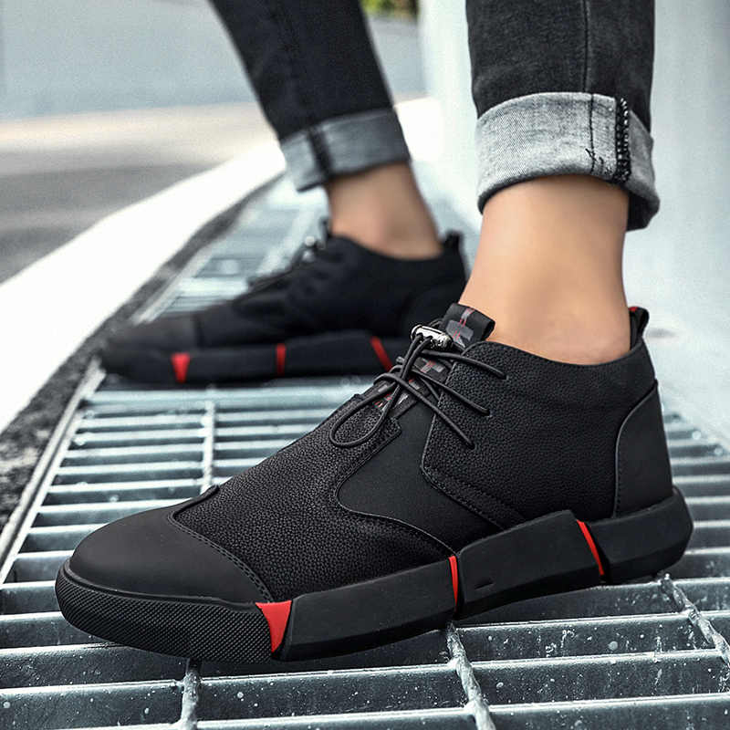 be28d8c4589f2 ... POLALI NEW Brand High quality all Black Men's leather casual shoes  Fashion Breathable Sneakers fashion flats