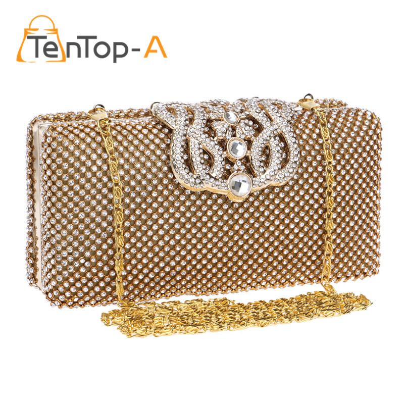 ФОТО TenTop-A Top Quality Crown Rhinestone Evening Bag Two Sided Czech Diamond Party Purse Bling Luxurious Wedding Clutch Bags Pouch