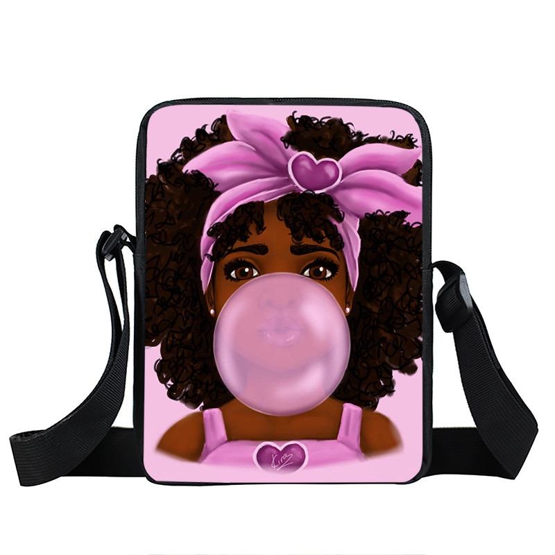 Afro Lady Girl messenger bag Africa Beauty Princess small shoulder bag brown women handbag mini totes teenager crossbody bags 20