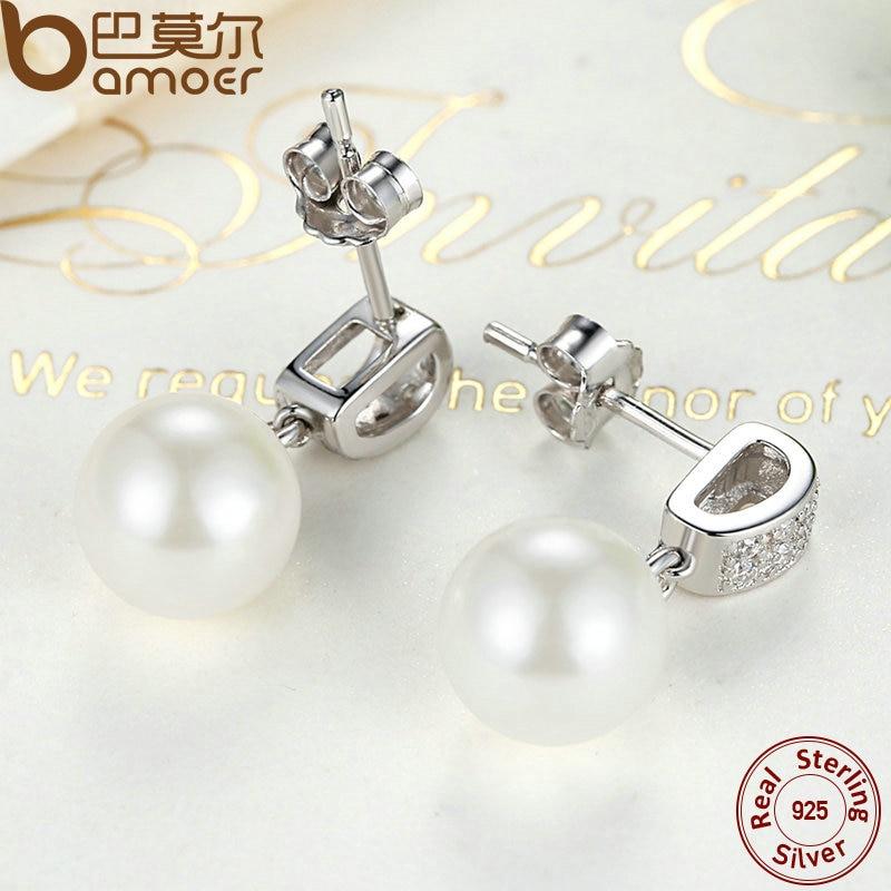 Drop Earrings Fine Jewelry Female Drop Earrings with Pearls Earrings 925 Sterling Silver Jewelry Mother's Day Gift SCE006