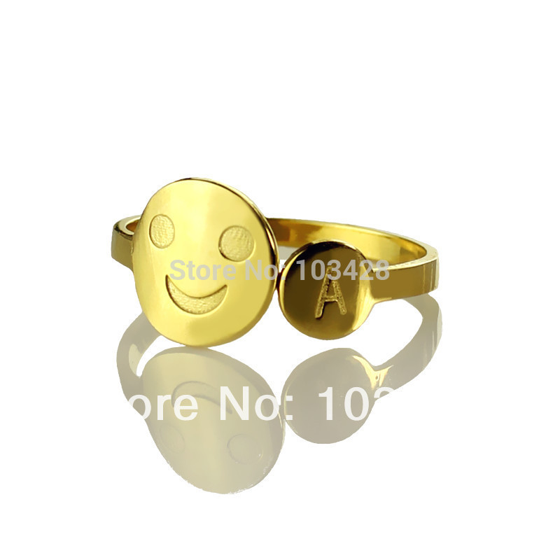 Personalized Engraved Ring Customize Smiley With 1 Initial Rings Name Lettering Gold Color Rings
