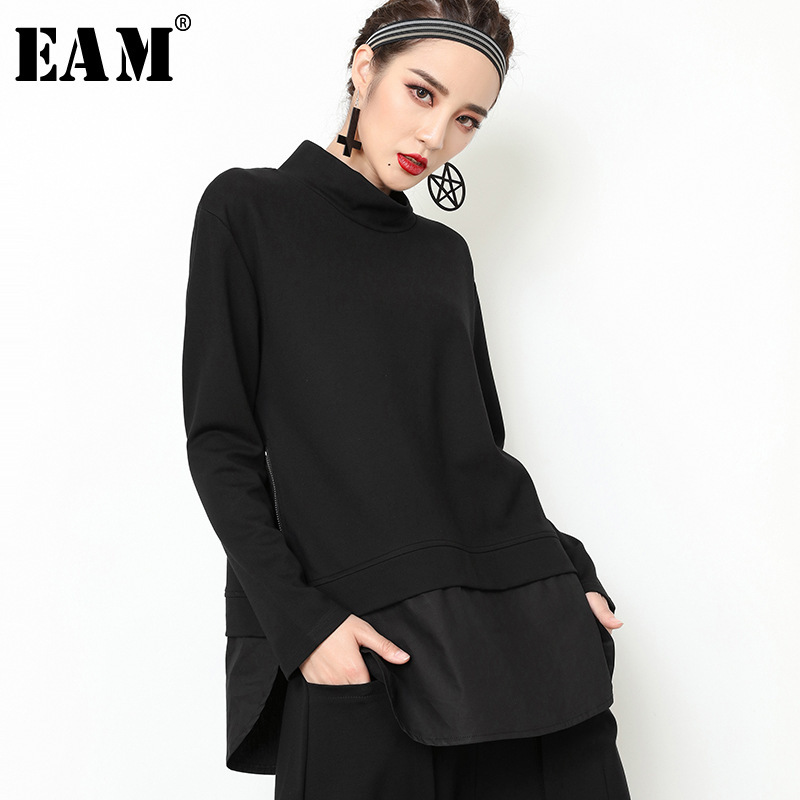 [EAM] 2019 New Autumn Winter High Collar Long Sleeve Black Loose Hem Split Joint Loose Sweatshirt Women Fashion Tide JY504