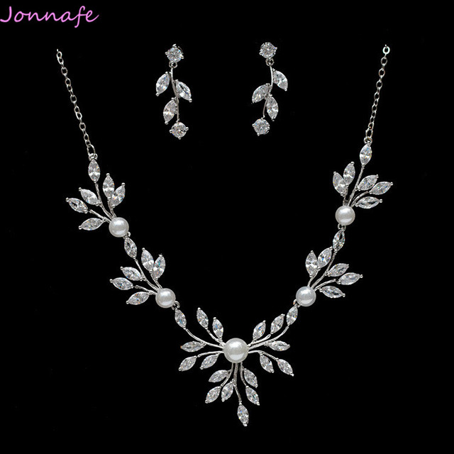 Jonnafe Silver Simple Wedding Necklace With Earrings Zirconia Bridal Jewelry Sets Women Party Prom Accessories