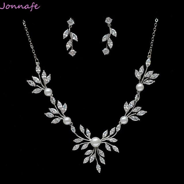 jonnafe silver simple wedding necklace with earrings zirconia