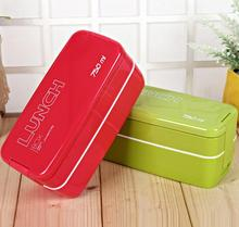 750ml Double Layers Portable Microwave Lunch Bento Box Candy Color Food Containers Dinnerware Lunchbox Eco-Friendly