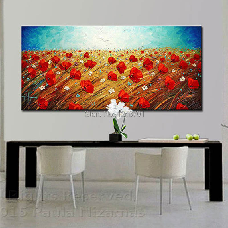 100 Handpainted Modern Wall Decorative Canvas Art Large Size Red Poppy Field Picture Oil Painting