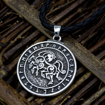 Norse Viking Warrior Horse Sleipnir Pewter Chain Necklace Pendant  Viking Necklace
