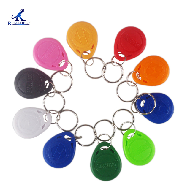 Pre-programmed with Unique ID125khz RFID Smart EM ID Read Only Entry Access Keyfob Tag Token Keychain Card Color Mix Color