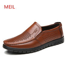 купить 2018 Summer Leather Shoes Brand Men Casual Hollow Out Breathable Slip on Driving Shoes Mens Loafers Leather Boat Shoes дешево