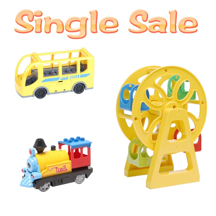 Ferris wheel Big Building Blocks Locomotive Accessories Assembly Compatible With Duplo Basics Bricks Bus car BABY DIY Toys gifts