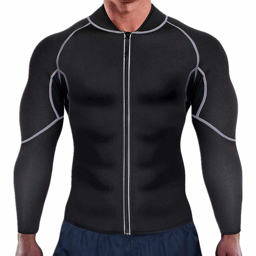 Men's Slimming Tops Trinmmer Shirts Jacket with Long Sleeve Fitness Tights Weight Loss Neoprene Sauna Waist Trainer Body Shapers