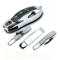 3pcs Mirror Silver Chrome Fob Remote Key Case Key Cover Key Shell Replace Fit Porsche Boxster