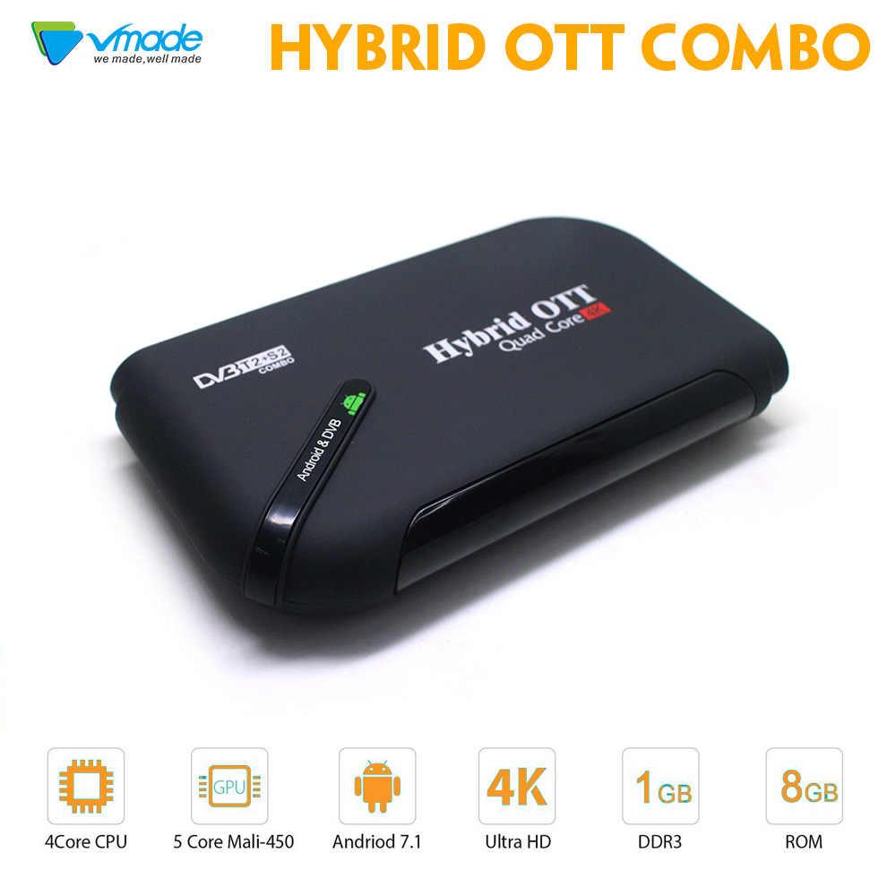 4d7f342243cd Vmade newest DVB T2 DVB S2 Android 7.1 OS Smart TV Box Amlogic S905d Quad-