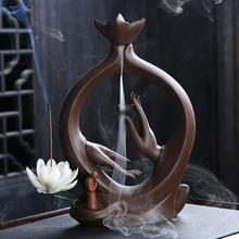 Buddha Hand Backflow Incense Burner Smoke Waterfall Sticks Holder Lotus Flower Ceramic Censer For Buddhist Home