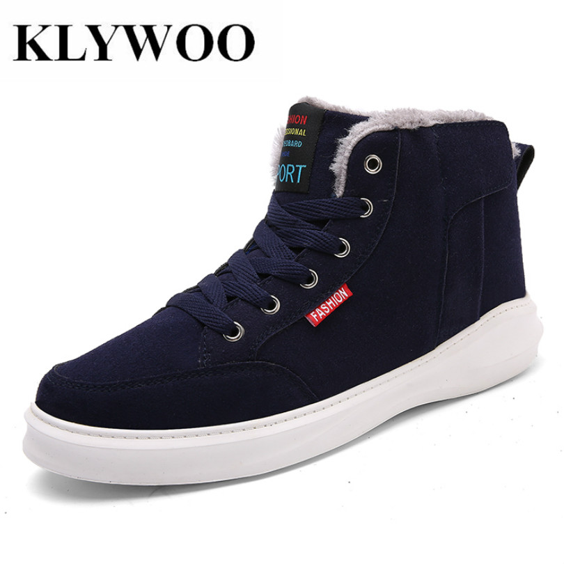 KLYWOO Plush Warm Mens Shoes Casual High Top Fashion Winter Big Szie 45 Mens Ankle Boots Leather Shoes Men Boots Zapatos Hombre  plush casual suede shoes boots mens flat with winter comfortable warm men travel shoes patchwork male zapatos hombre sg083
