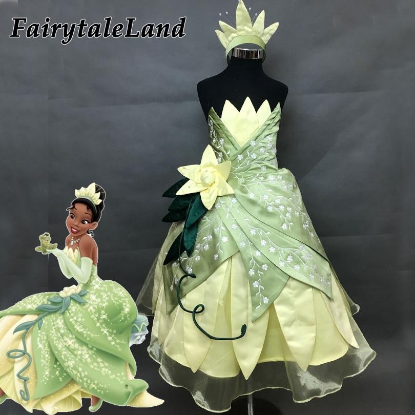 girls Princess Tiana costume kids Halloween Costume Princess and the Frog Tiana cosplay costume embroidery girls Tiana dress