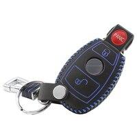 Genuine Leather Cover Wallet Car Key Case Chain For Mercedes Benz W203 W210 W211 AMG W204