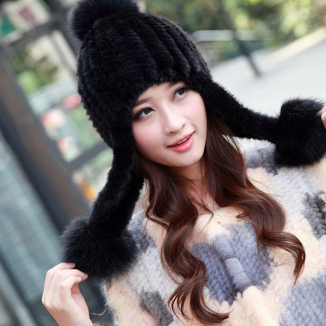 2016 New authentic Russian Fur Hat Knitted Mink Fur Hat Female Winter fashion striped Warm fur hat M016