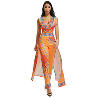 African Dresses For Women's Explosion Models 2019 Autumn Positioning Printing Orange Ethnic Pants