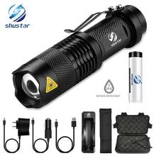shustar Mini LED Torch 2000LM CREE Q5 T6 LED Flashlight Adjustable Focus Zoom Flash Light Lamp Free Shipping with bike Clip цена 2017