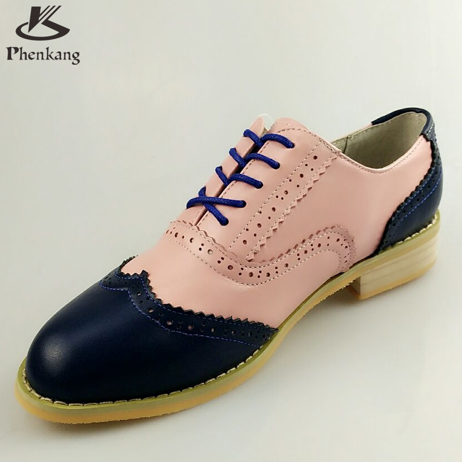ФОТО Genuine leather big woman US size 11 designer vintage shoes round toe handmade blue pink 2017 oxford shoes for women with fur