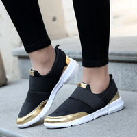 2018 spring and summer new ladies casual flat shoes fashion comfortable silver golden singles shoes