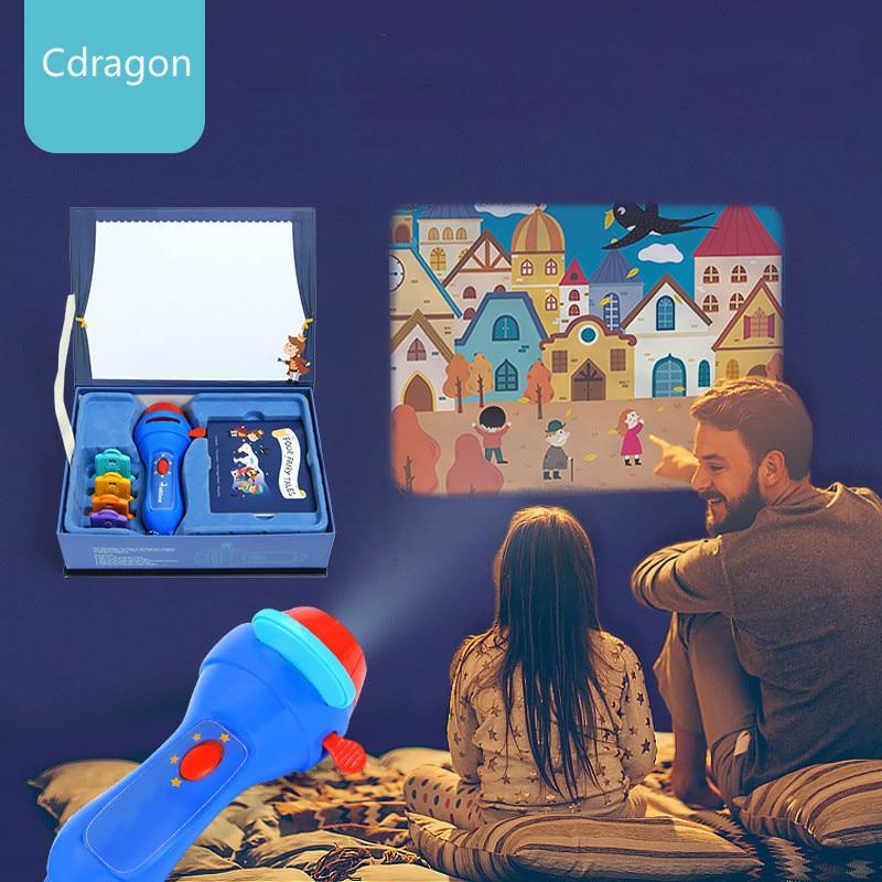 Mini projecteur torche éducatifs jouets lumineux pour enfants enfants développer jouer dormir histoires effectuer ensemble cadeau enfant