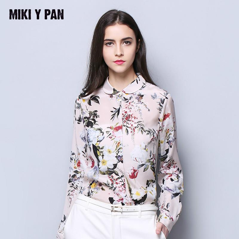 Women 100% Real Silk Fabric Blouse Print Shirts Peter pan collar Western Style Top Silk Blouses for summer spring 2019 style
