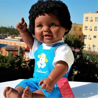 48cm Full Body Silicone Reborn Baby Doll Toy Black Skin Newborn Girl Princess with Cat Picture Babies Doll Child Bathe Toy