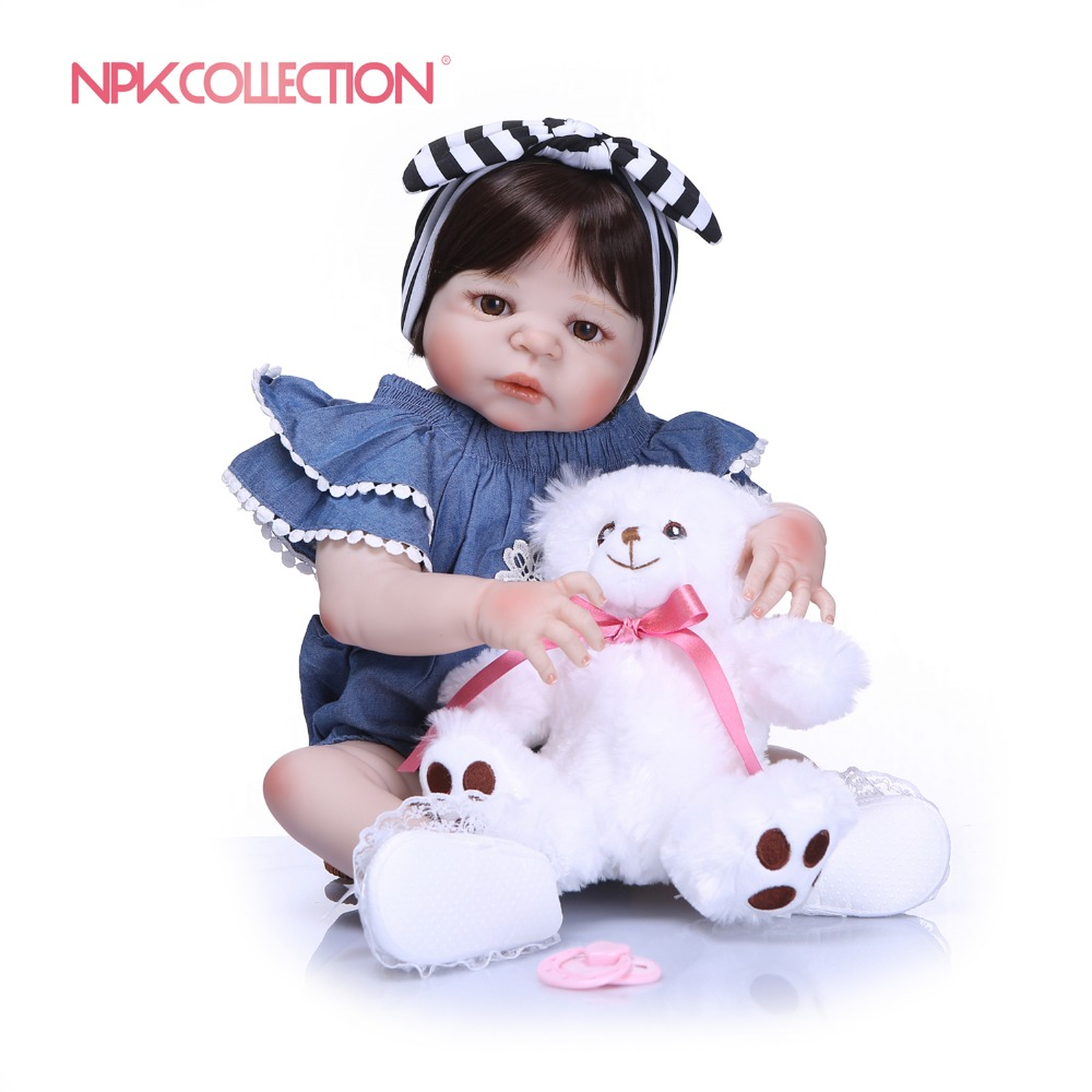 NPKCOLLECTION New Arrival Baby Girl Doll Full Silicone Body Lifelike Bebes Reborn Bonecas Handmade Baby Toy