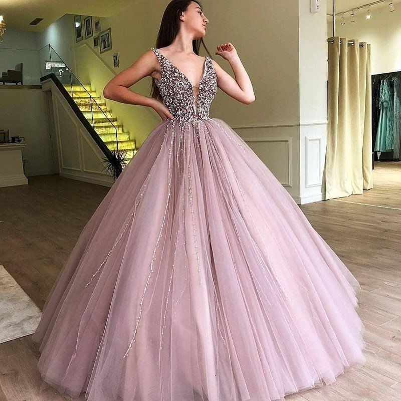 Dusty Pink Beading Ball Gown   Evening     Dresses   V-Neck Long Pageant Party Gown Prom   Evening     Dress   Custom Made Tulle vestido longo