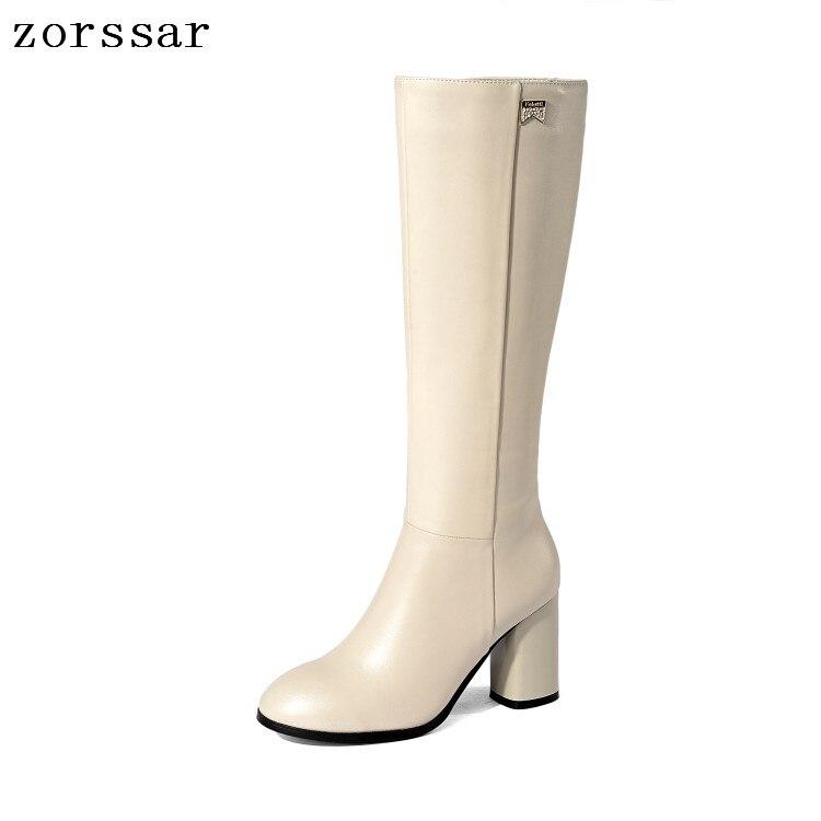 a8d239b17a3e Hauts La Talons Nouveau 2019 Taille Haute Cuir Qualité Beige Chaussures   zorssar  Plus En Femmes Bottes À Genou ...