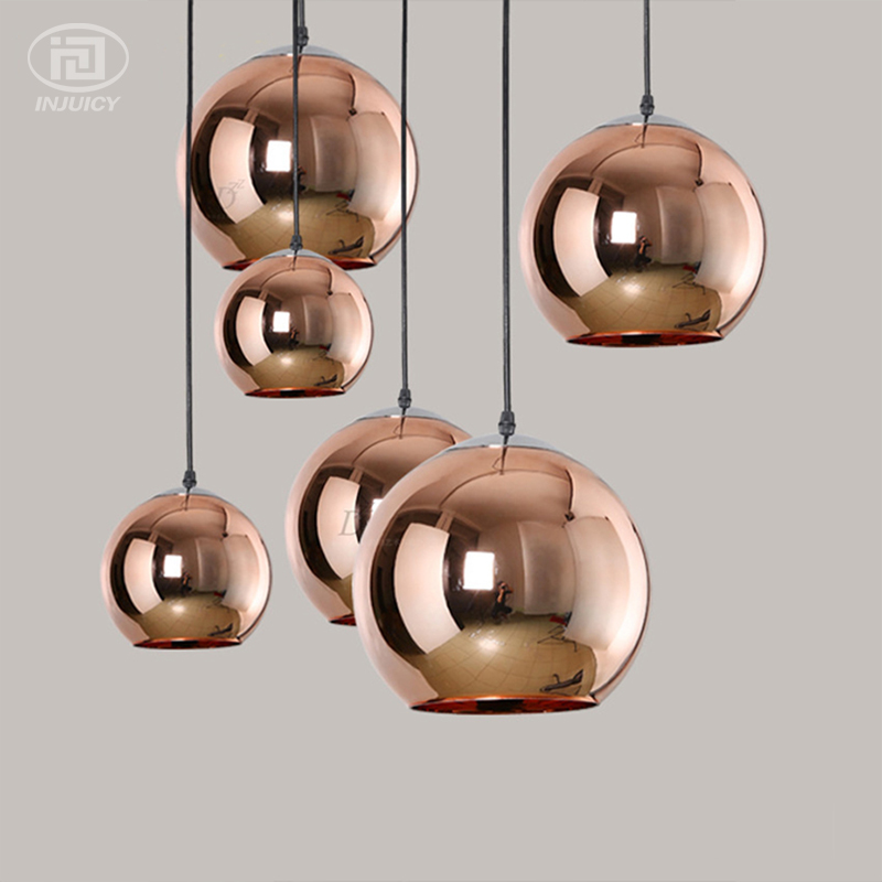 Gold Silver Glass Ball Electroplate Pendant Lights Single-end Bronze Led Droplight Home Indoor Cafe Bar Store Hanging Lighting bar single glass pendant lamp gray blue amber glass lampshade e27 led pendant lights bar cafe salon indoor lighting fixture