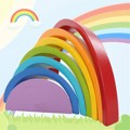 Rainbow Buliding Blocos de madeira Coloridos Crianças Kids Play Toy Set Crianças Brinquedos Brinquedos Educativos Suprimentos Favor