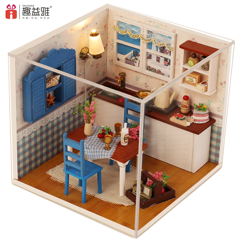 3D Wooden Doll Houses DIY Warm Coffee Time Miniature
