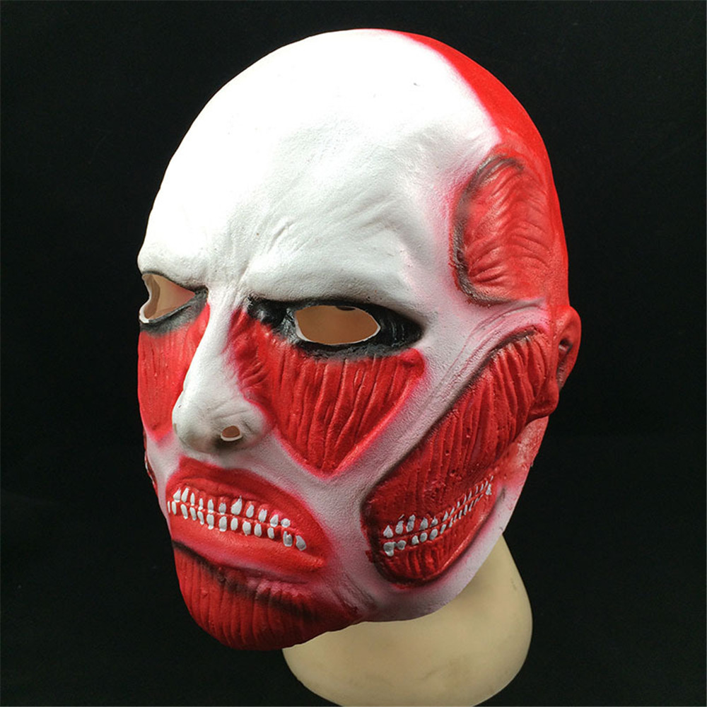 Attack on Titan Mask Shingeki no Kyojin Latex Mask Cosplay Costumes Colossal Titan Mask Adult Halloween Carnival Horror Headgear