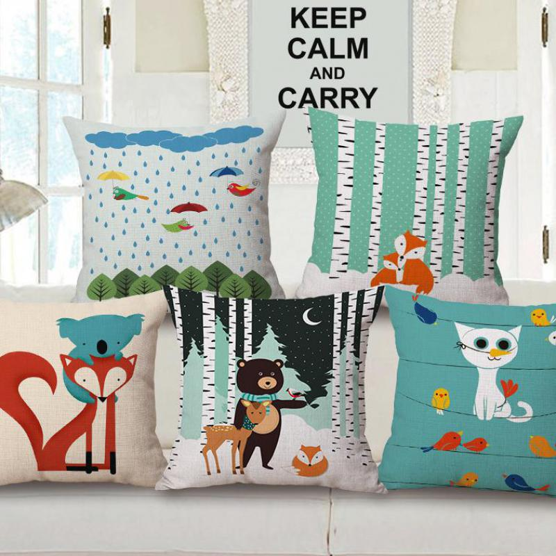 Factory Direct Sales Cute Cartoon Animal Small Fox Bear Cotton Linen Decorative  Pillow Cushion For Children