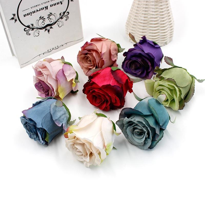 5Pcs Rose Heads Artificial Flowers Wedding Bride Bouquet Décor Photography Props