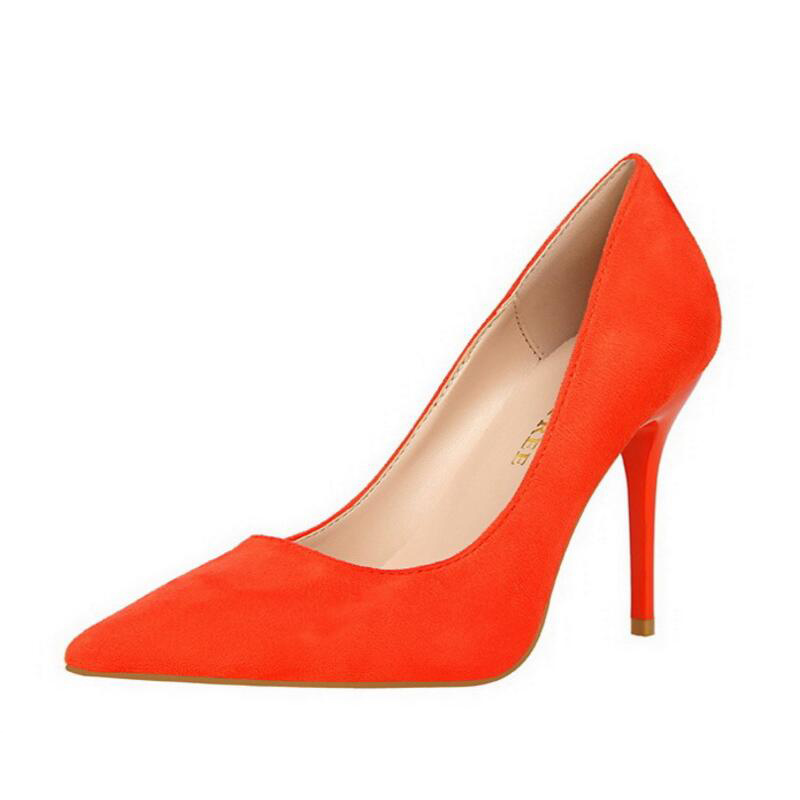 Ladies Concise Solid Color High Heels Pointed Toe Flock Thin Pump Women Fashion Shallow Mouth Stilettos Sexy Party Wedding Shoes fashion female shallow mouth high heels pointed toe single shoes sexy hollow stilettos women concise party thin pumps 6 colors